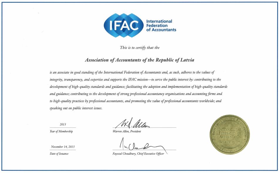 IFAC sertificate
